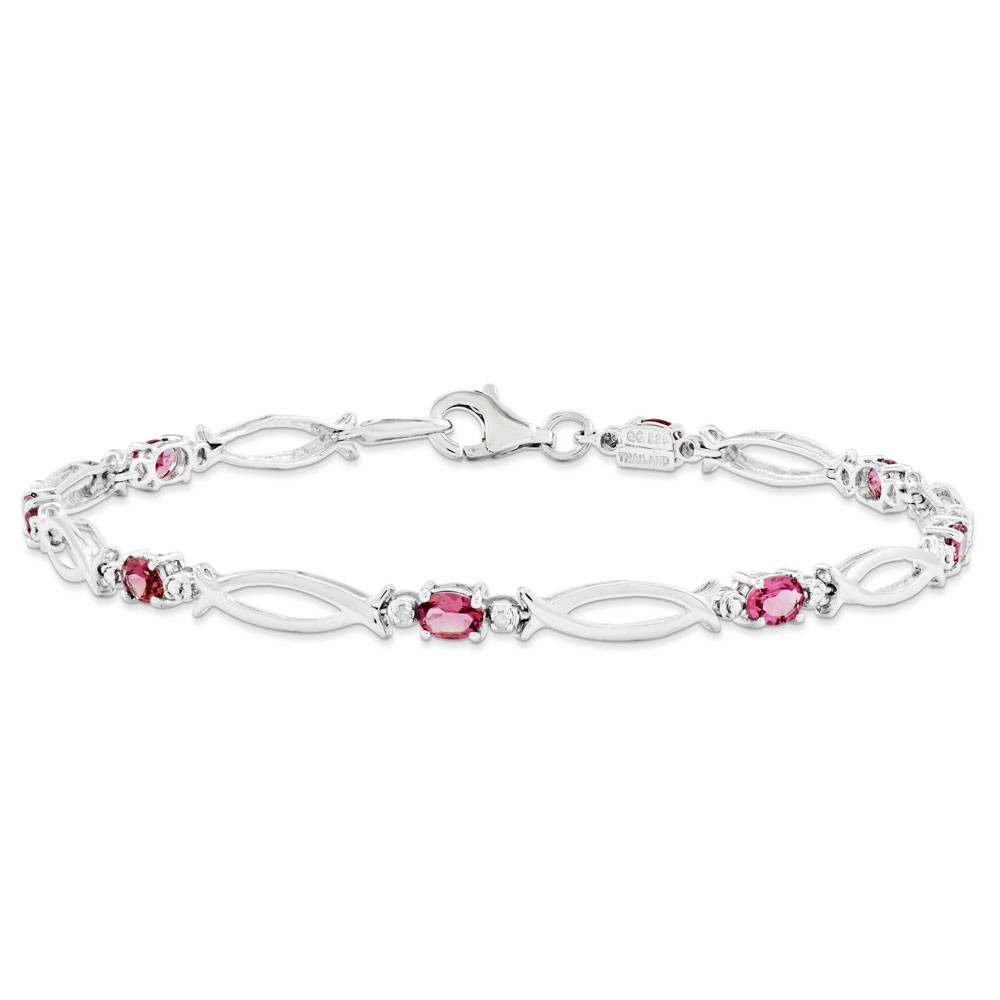 "925 Sterling Silver Polished 3mm Pink Tourmaline and Diamond Bracelet 7/"""
