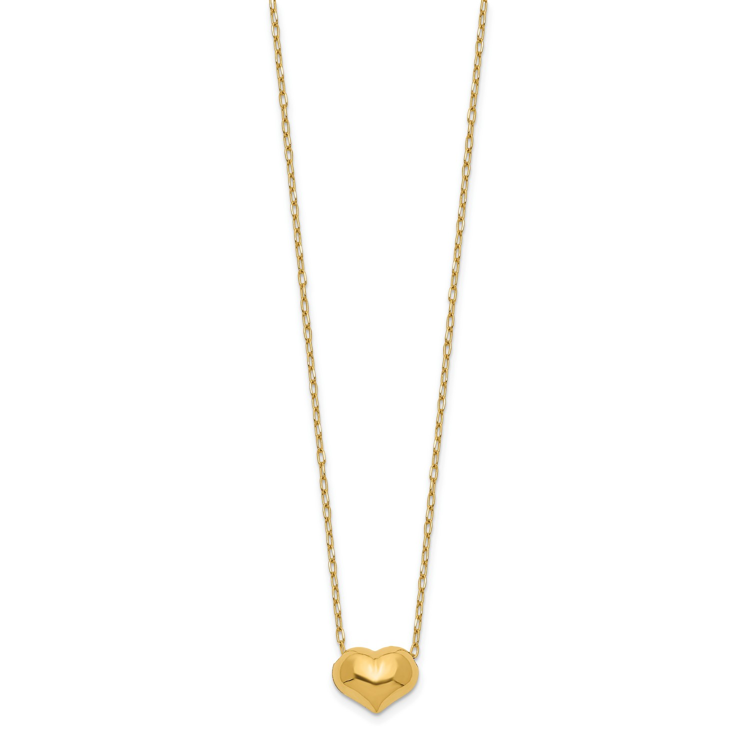 14kt Yellow Gold Madi K Small Hollow Heart w// Chain Necklace; 16 inch