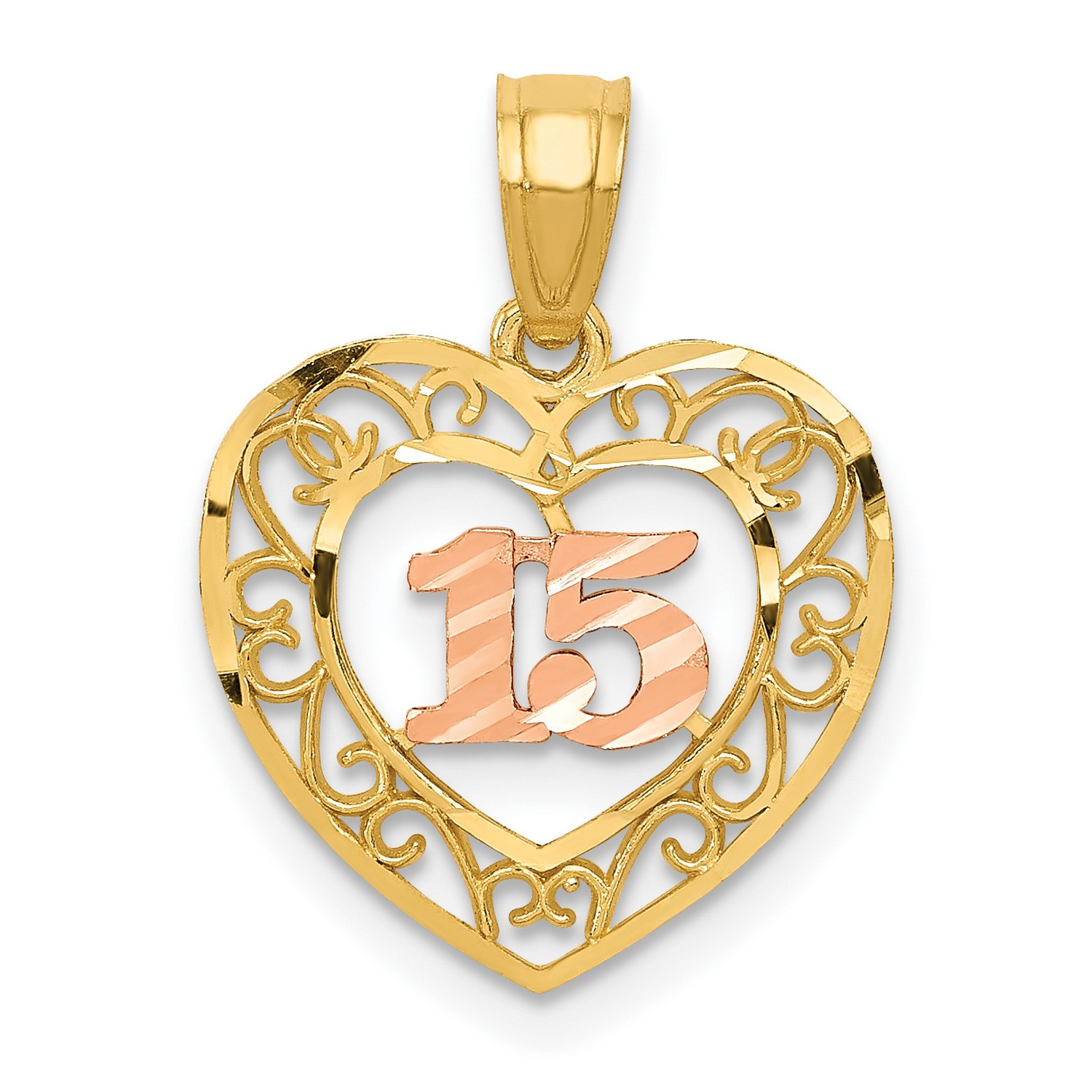 14k Yellow Gold and Rose Gold Heart Lock /& Key Pendant 21x15mm 0.78gr