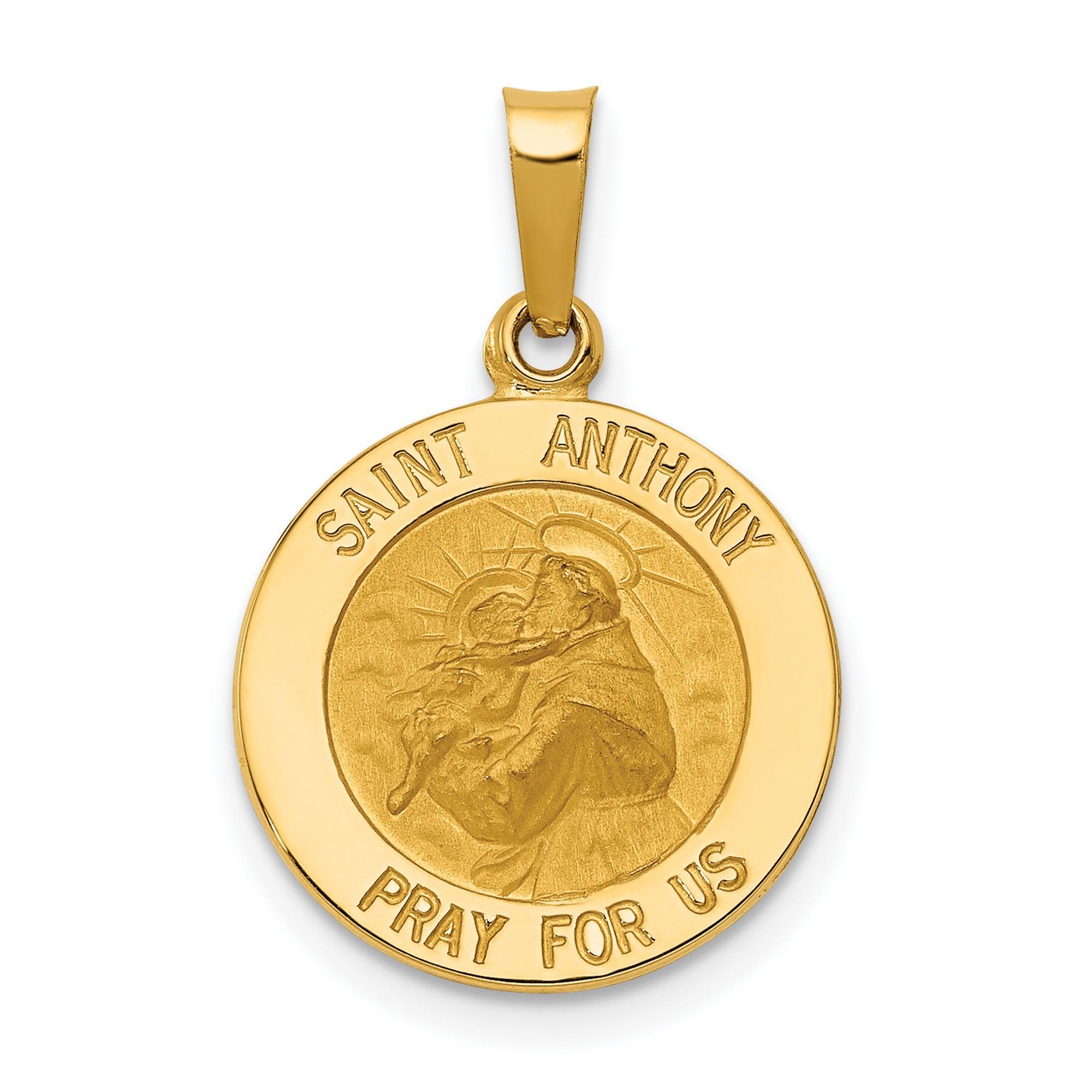 14K Yellow Gold Saint Luke Pray For Us Words On Round Medal Pendant