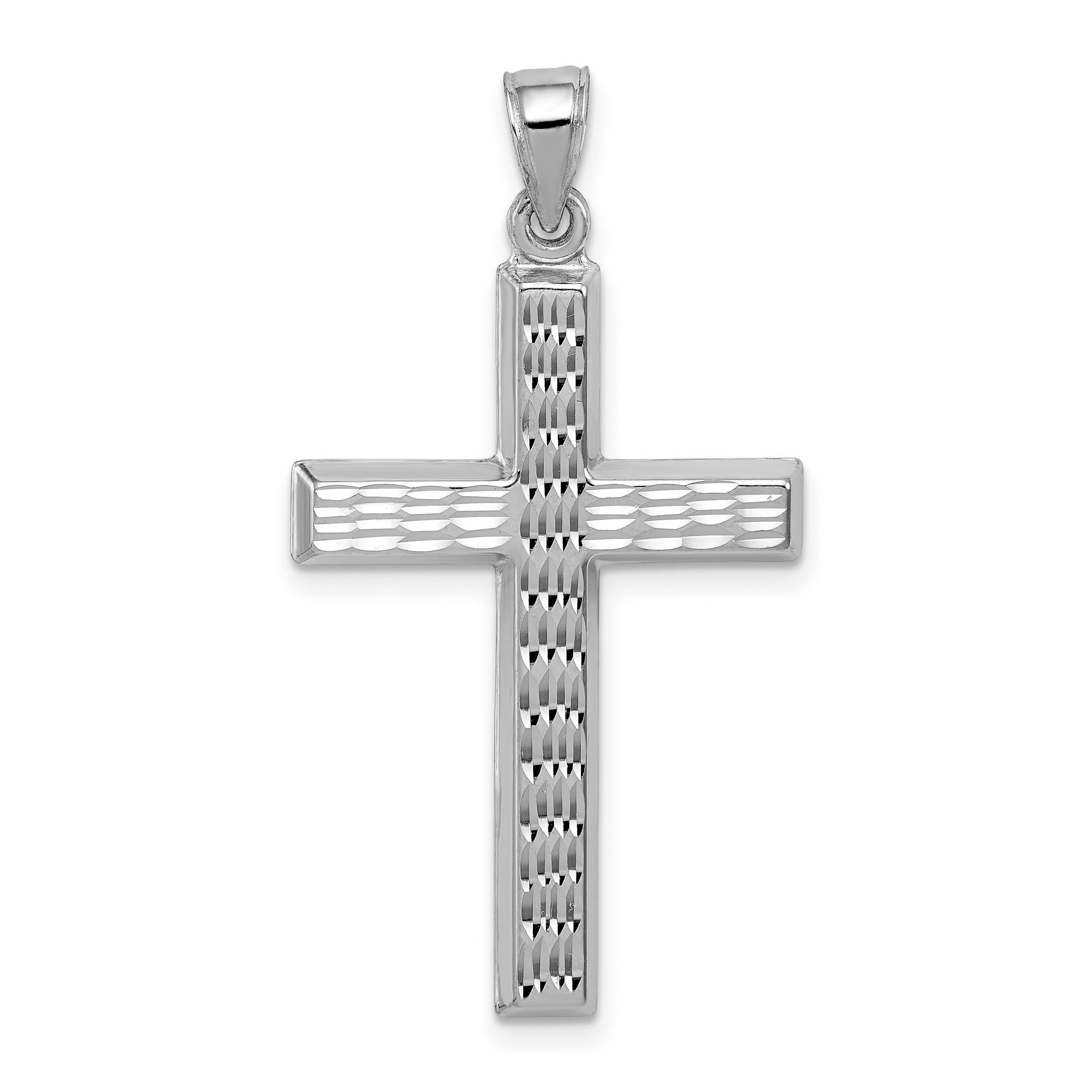 925 Sterling Silver Polished /& Diamond-cut Cross w//Diamond Accent Charm Pendant