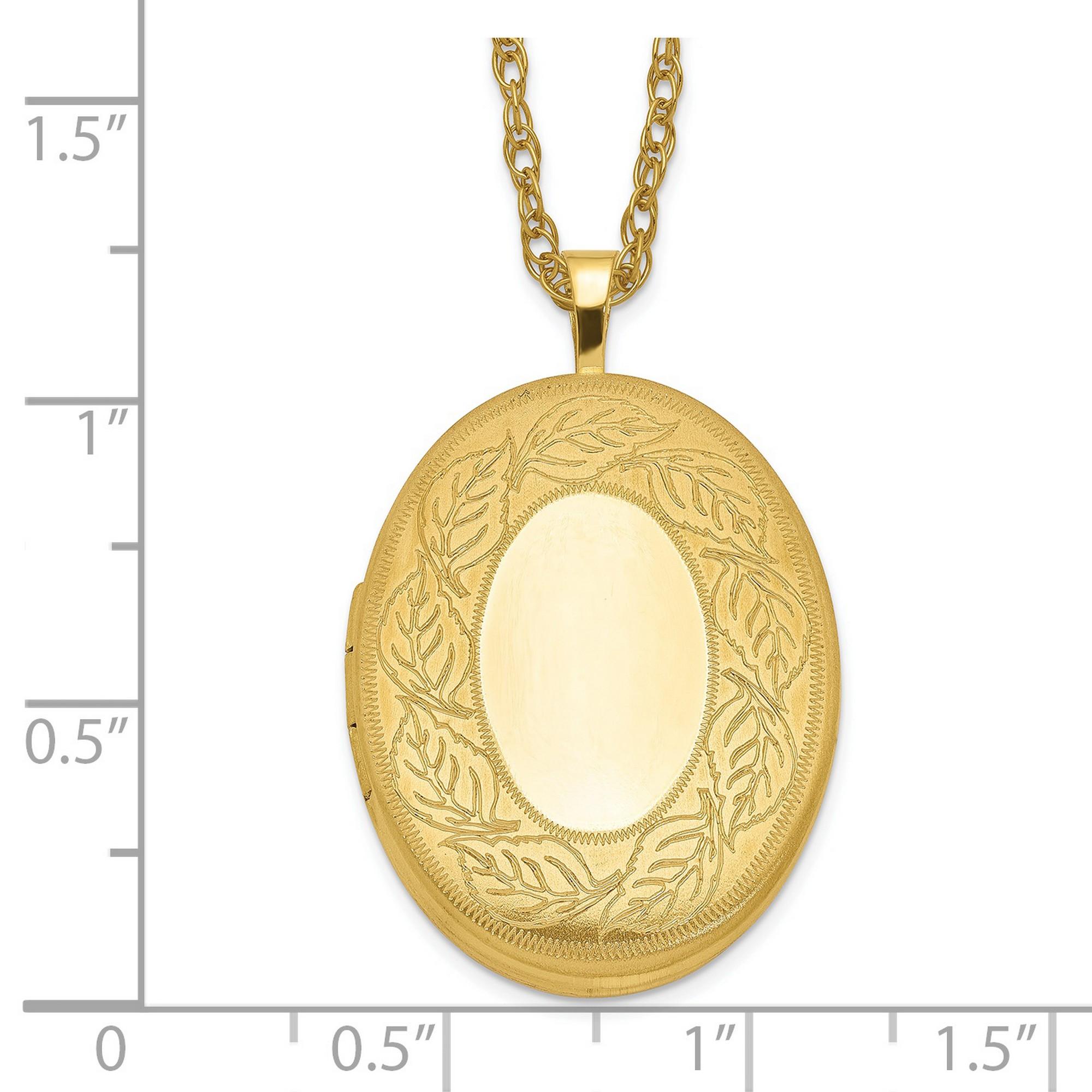 1//20 Gold Filled 26Mm Leaf Border Oval Locket Charm Pendant