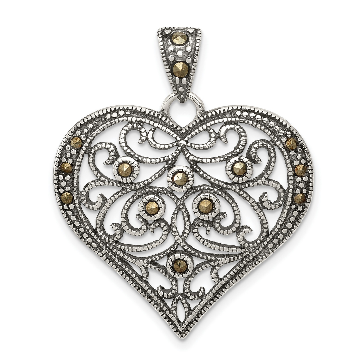 Solid 925 Sterling Silver Marcasite Pendant Charm