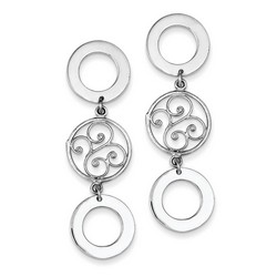 3 Circle with Filigree Dangle Earrings in 925 Sterling Silver