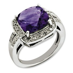 Amethyst & Diamond Bold Ring 925 Sterling Silver 15x15mm 5.8gr 5ct