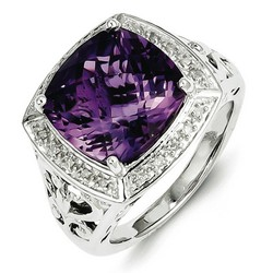 Amethyst & Diamond Bold Ring 925 Sterling Silver 15x16mm 7gr 5.45ct