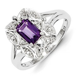 Amethyst & Diamond Fancy Ring 925 Sterling Silver 13x10mm 2.75gr 0.82ct