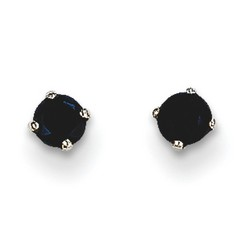 14k White Gold 3mm Sapphire Stud Earrings 0.38 ct