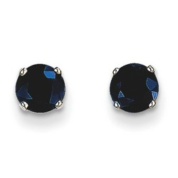 14k White Gold 5mm Sapphire Stud Earrings 1.4 ct