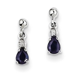 14k White Gold Blue Sapphire and Diamond Dangle Post Earrings 10x4 mm 1.06gr