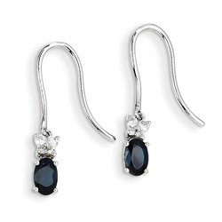 14k White Gold Diamond and Sapphire Shepherd Hook Earrings 26x4 mm 1.43gr